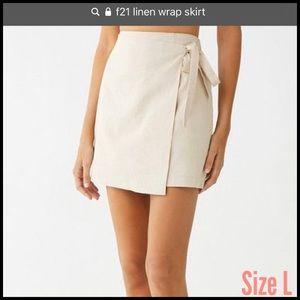 F21 Linen Mini Wrap Skirt $13